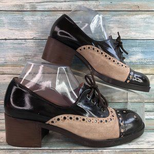 Gabor Brown Leather Suede Wingtip Oxford Shoes